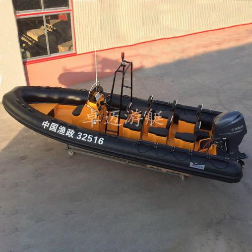卓迈游艇RIB630玻璃钢橡皮艇8-12人充气执法艇公务艇