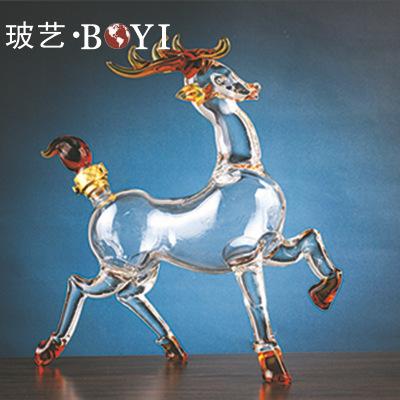 动物造型酒瓶梅花鹿造型酒瓶 工艺酒瓶厂家加工定制玻璃工艺品