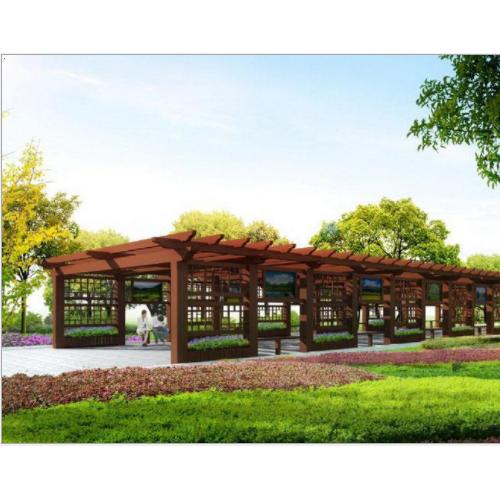 木塑方通 长廊花架 定做尺寸 厂家直销优质塑木青海木塑凉亭