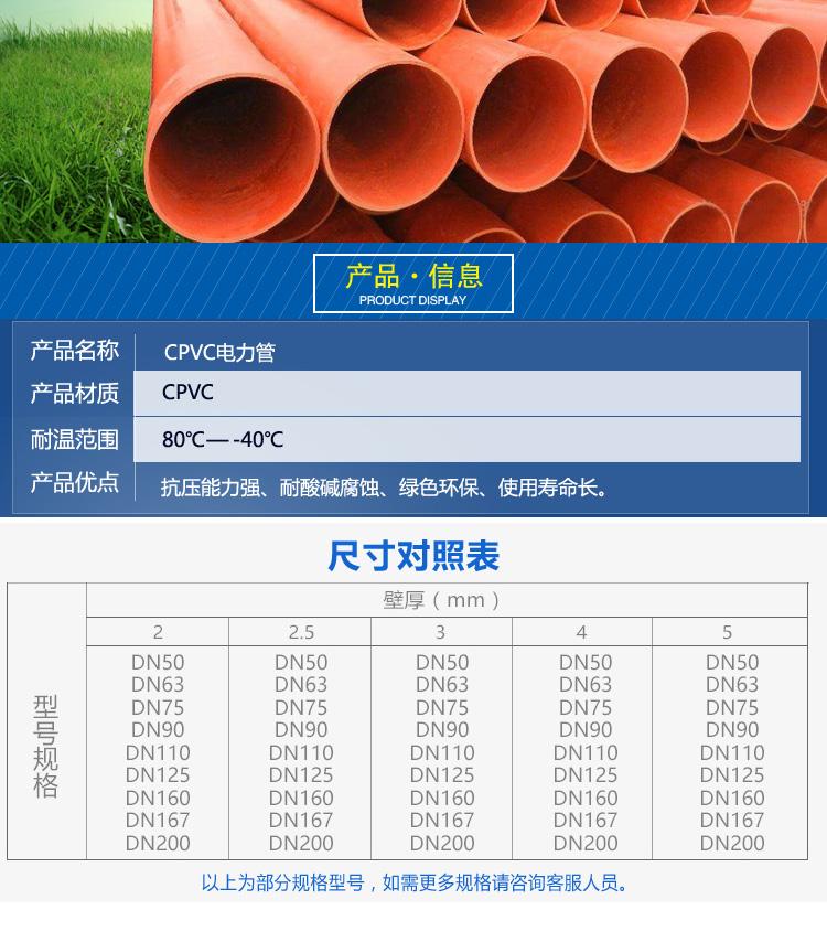 电力服务热线电话_cpvc电力管160 110 200现货埋地电缆套管电力排管_供应产品_春勇塑胶