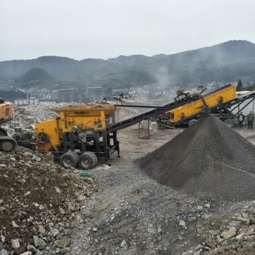 中湾移动式破碎机石子生产站建筑垃圾水泥路面破碎(分体机)