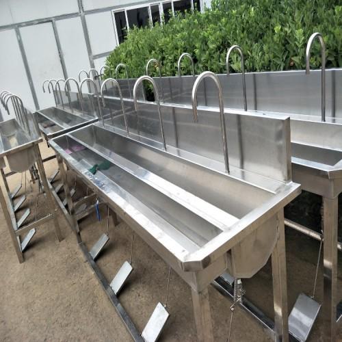 感应式消毒洗手槽 立式双槽洗手槽 学校食堂洗手槽