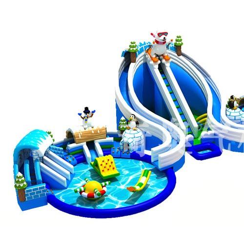 室外移动水上乐园充气城堡充气滑梯支架游泳池