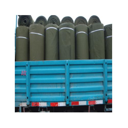 华鑫帆布厂供应绿色加强防水耐磨4*4再生帆布 染色帆布