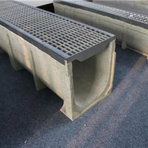 树脂排水沟 u200圆孔盖板成品树脂混凝土排水沟