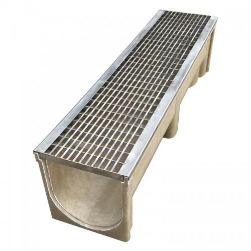 不锈钢格栅盖板树脂排水沟成品线性排水沟成品树脂排水沟