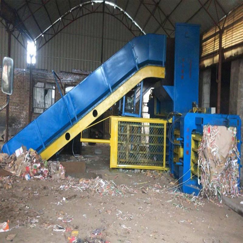 耀捷大型200卧式废纸液压打包机半自动180塑料纸打包机厂家