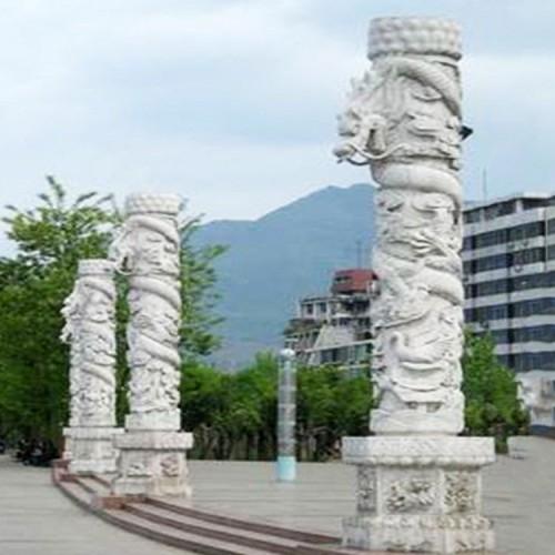 广场石龙柱 华表柱 公园大理石单龙 双龙戏珠 景观文化柱雕塑