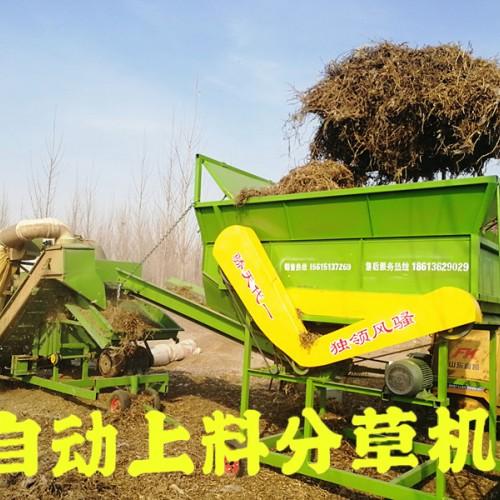 自动上料饲料加工配套设备 可接除膜机 秸秆饲料分草机