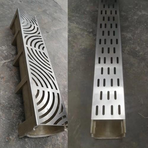 成品树脂排水沟线性排水槽 塑料u型槽缝隙式格栅不锈钢盖板成品