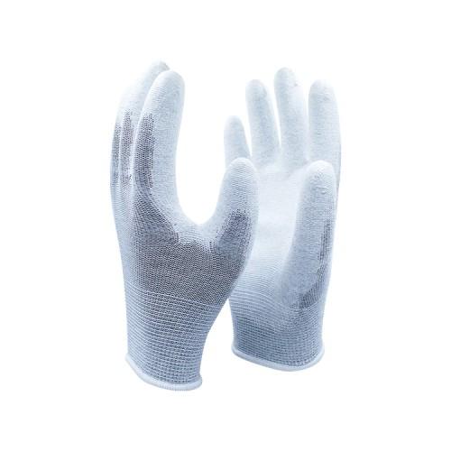 13针尼龙涤纶PU手套涂掌浸胶防静电劳保安全工作手套厂家批发