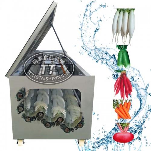 萝卜清洗机 电动毛辊洗胡萝卜机器 白萝卜清洗毛刷机