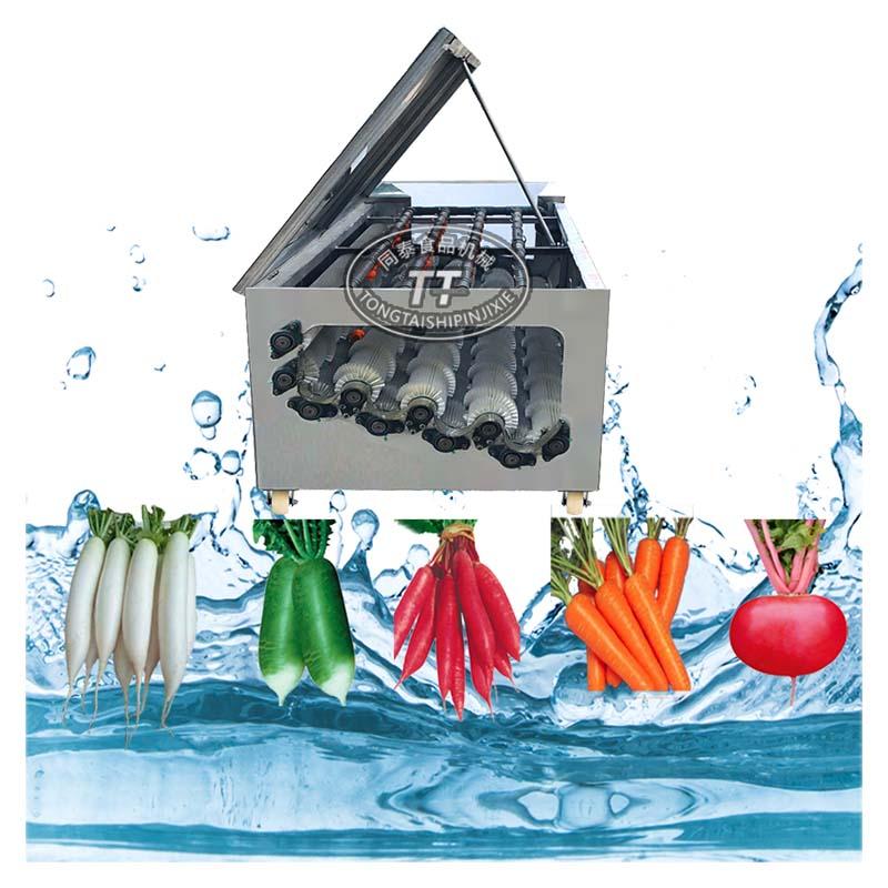 电动水萝卜自动毛刷清洗机 青萝卜红萝卜清洗专用毛刷机