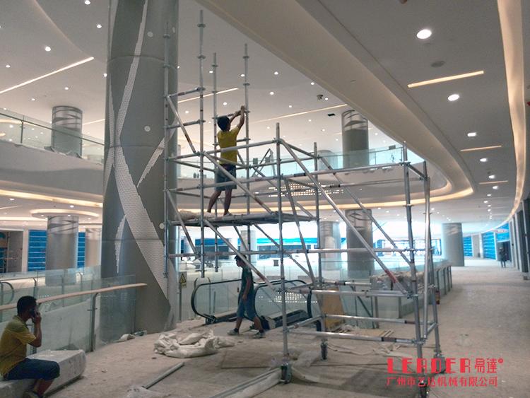 供应商场装修作业搭建悬空铝合金脚手架,单管盘口式连接灵活搭建
