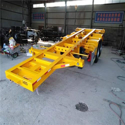 3轴集装箱半挂车 展翼骨架集装箱挂车出口厂家