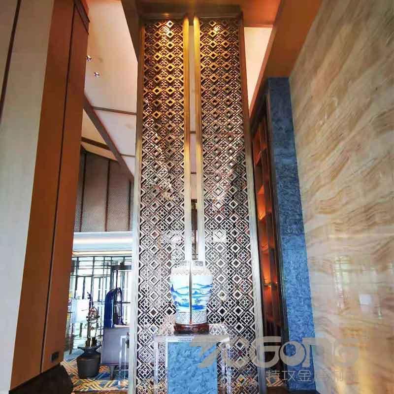 酒店不锈钢屏风定制_新中式不锈钢屏风隔断_大堂不锈钢屏风花格