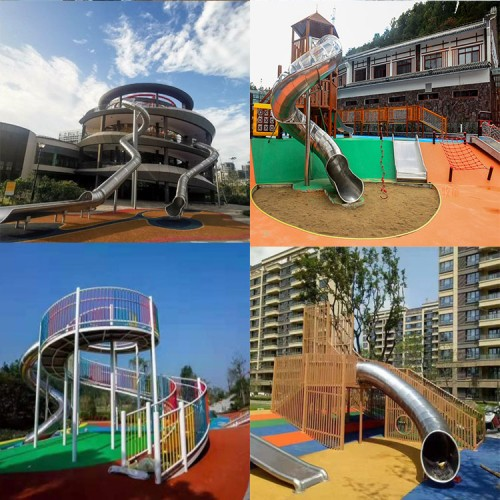 大型户外不锈钢螺旋滑梯定制幼儿园儿童拓展攀爬无动力游乐场设施