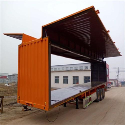 物流运输集装箱半挂车 三桥轻型集装箱生产 集装箱运输车