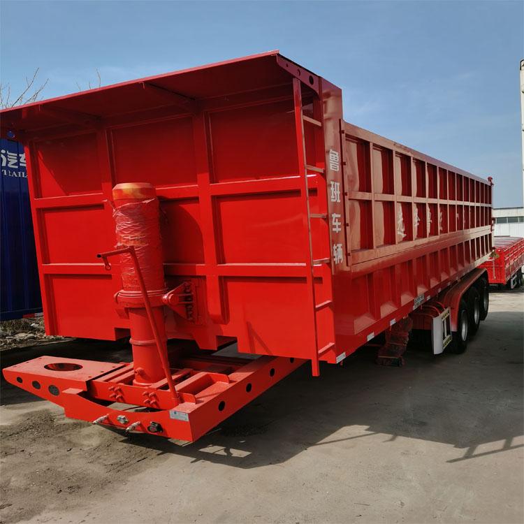粉粒物料运输半挂车 轻型后翻半挂车 翻斗自卸车出售