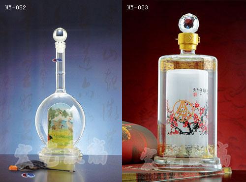 辽宁工艺酒瓶公司/宏艺玻璃制品厂家供应内画酒瓶