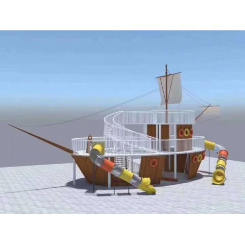 户外儿童木质秋千组合滑梯幼儿园家庭木制海盗船树屋爬网钻笼玩具