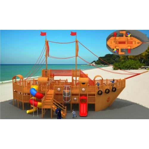 定制大型户外儿童游乐场设备幼儿园木质组合滑梯海盗船攀爬网设施